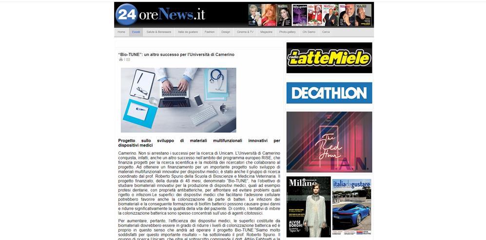"""""""Bio-TUNE"""": un altro successo per l'Università di Camerino"""