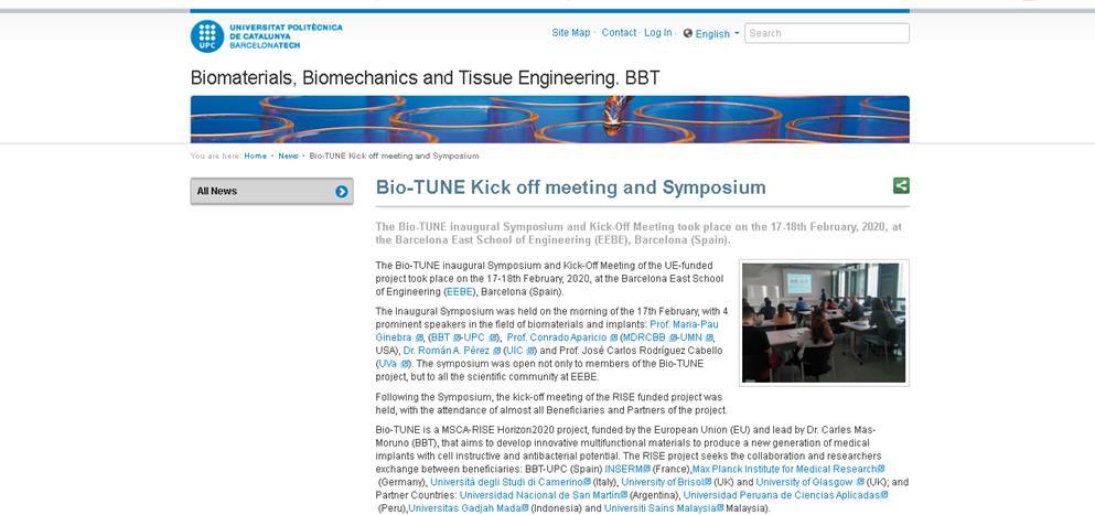 Bio-TUNE Kick off meeting and Symposium