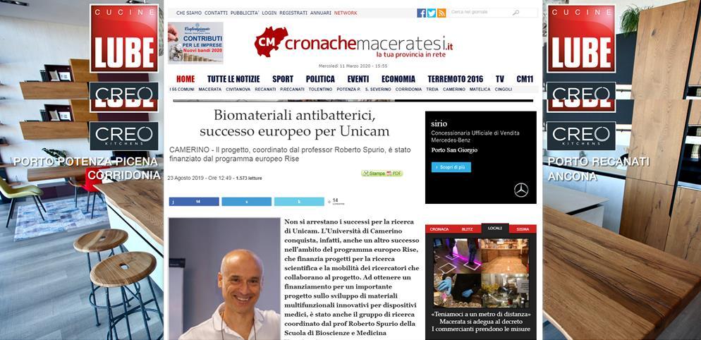 Biiomateriali antibatterici, successo europeo per Unicam