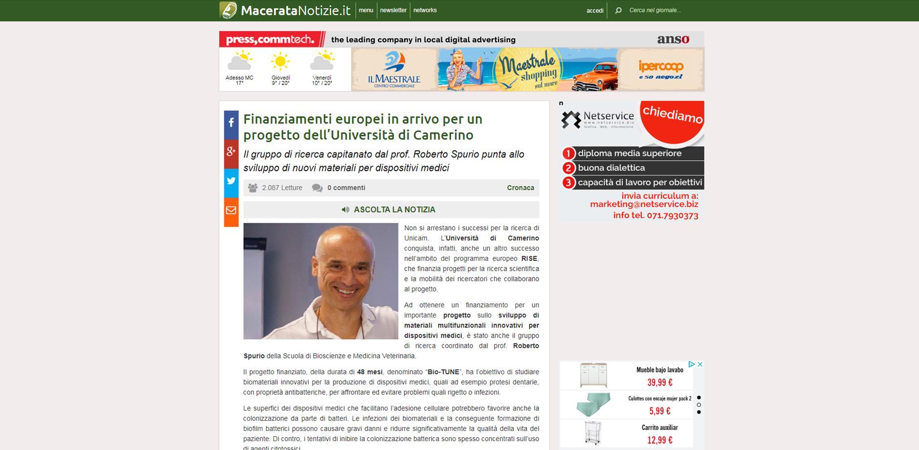 Finanziamenti europei in arrivo per un progetto dell'Università di Camerino