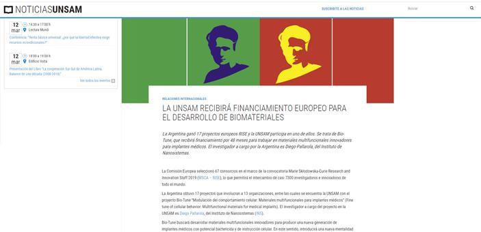 LA UNSAM RECIBIRÁ FINANCIAMIENTO EUROPEO PARA EL DESARROLLO DE BIOMATERIALES