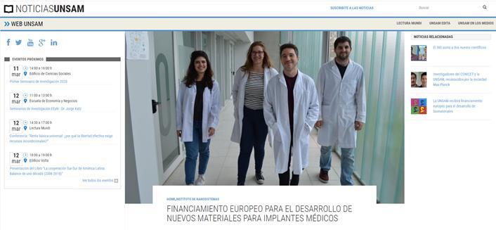 FINANCIAMIENTO EUROPEO PARA EL DESARROLLO DE NUEVOS MATERIALES PARA IMPLANTES MÉDICOS