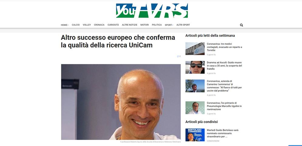 Altro successo europeo che conferma la qualità della ricerca UniCam
